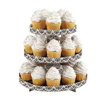 Black Damask Cupcake Stand
