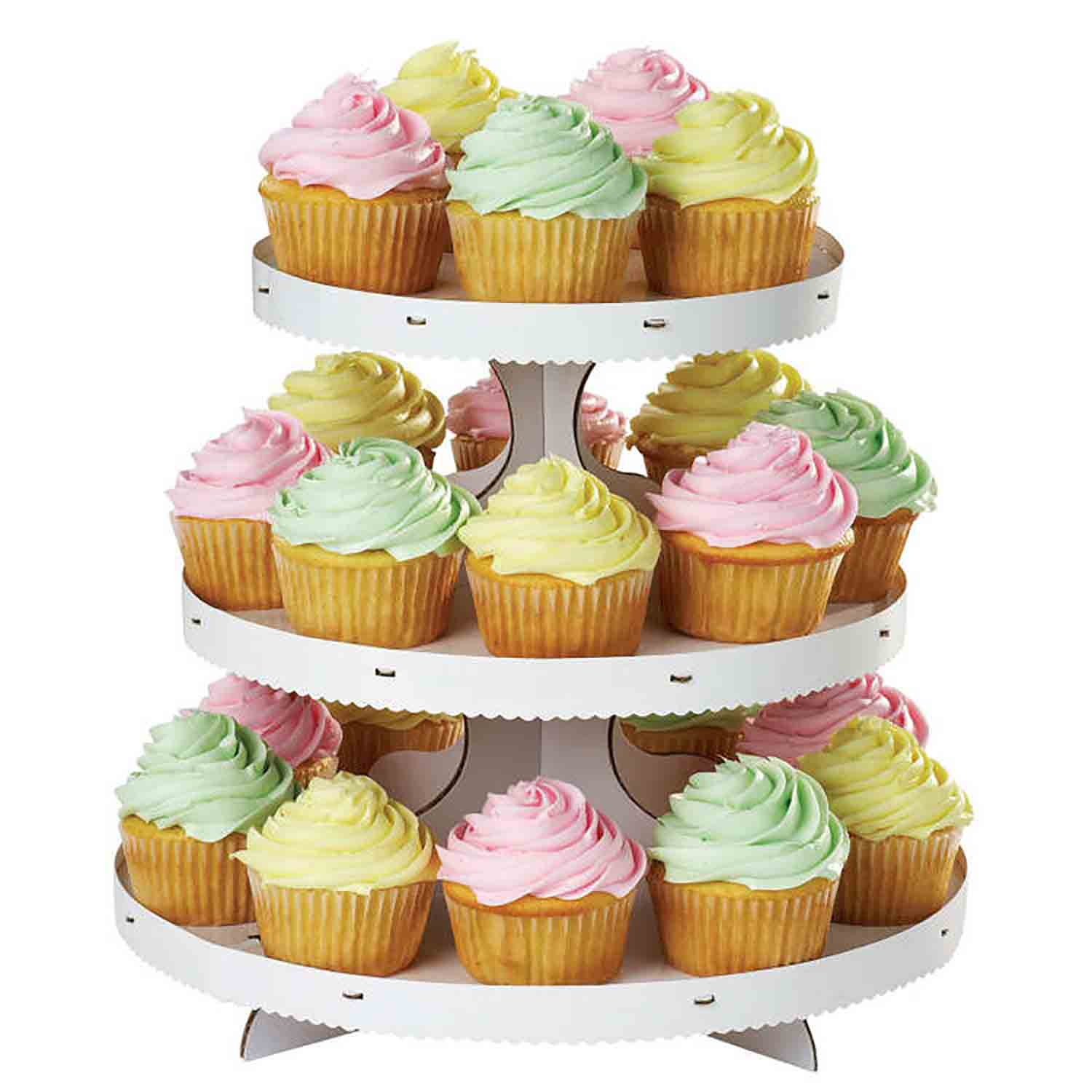 3 Tier White Cupcake Stand (Holds 24)