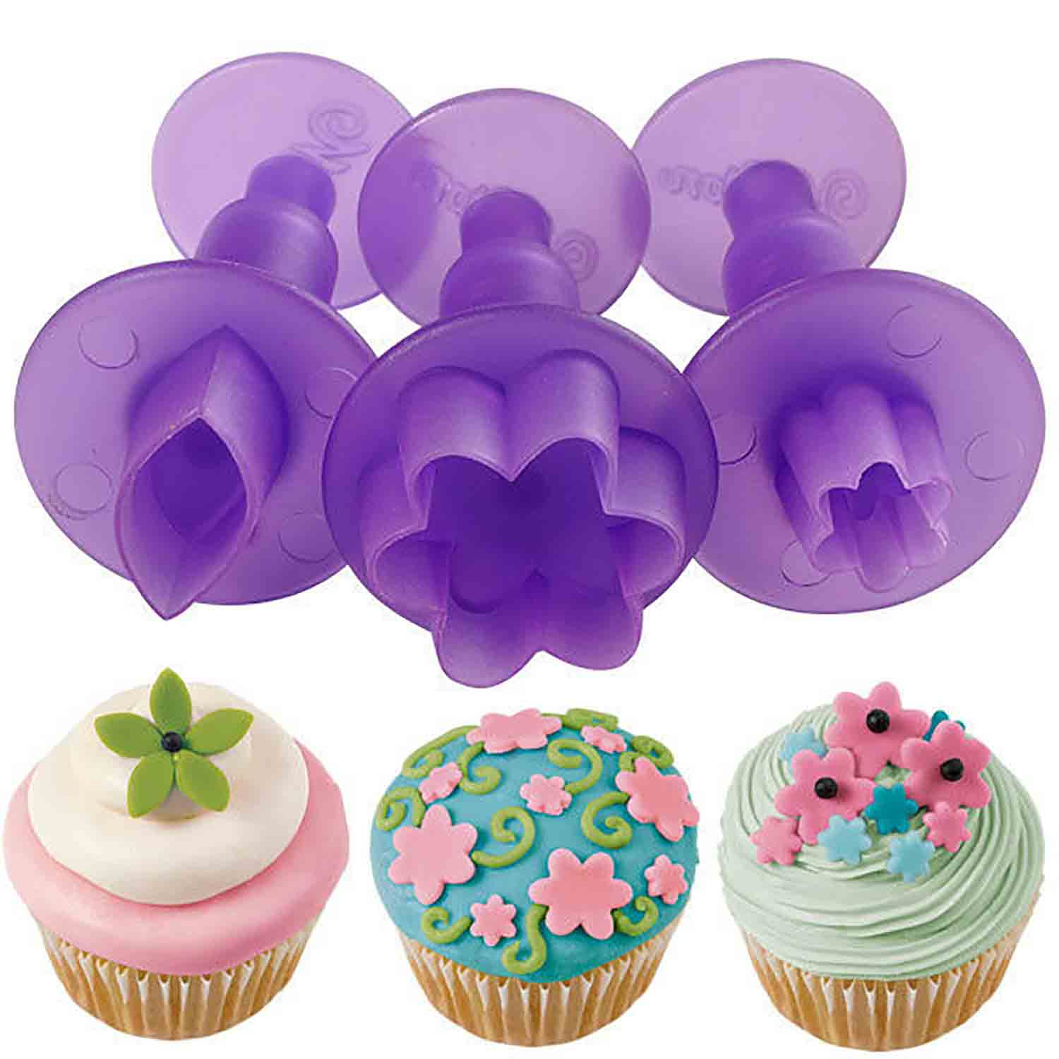 Blossoms and Leaf Mini Fondant Plunger Cutter Set