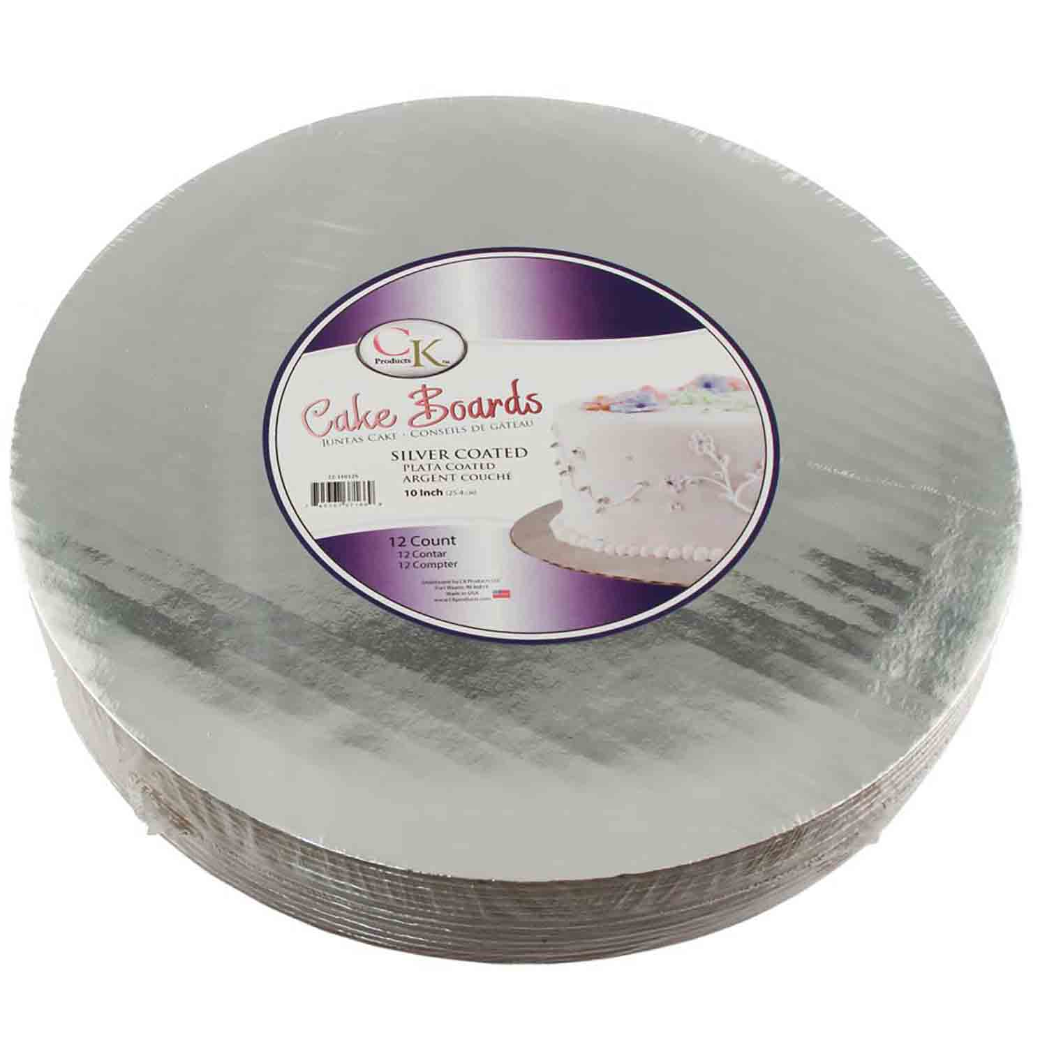 "10"" Round Silver Cake Cardboards"
