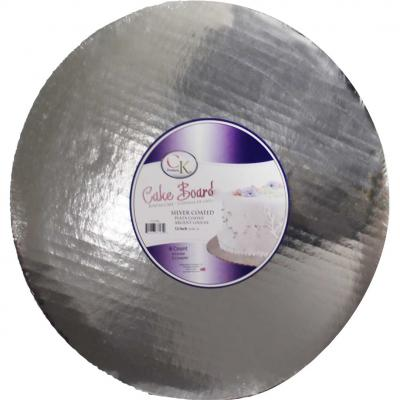 "12"" Round Silver Cake Cardboards"