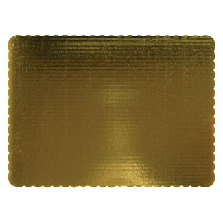 "14"" x10"" Gold Corrugated Rectangle Quarter Sheet Cake Cardboards"