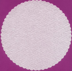 """12"""" White Rose Embossed Doilies"""