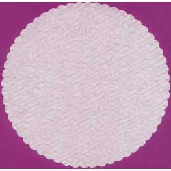 "14"" White Rose Embossed Doilies"