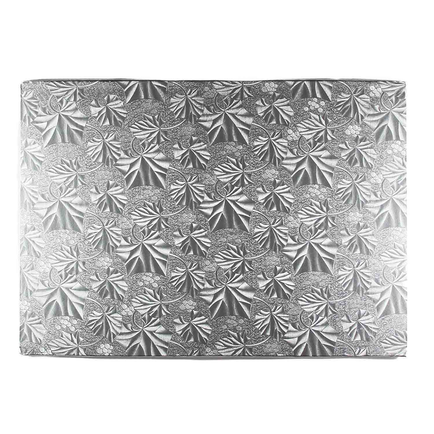 "18"" x 26"" Rectangle Silver Foil Full Sheet Cake Drum"