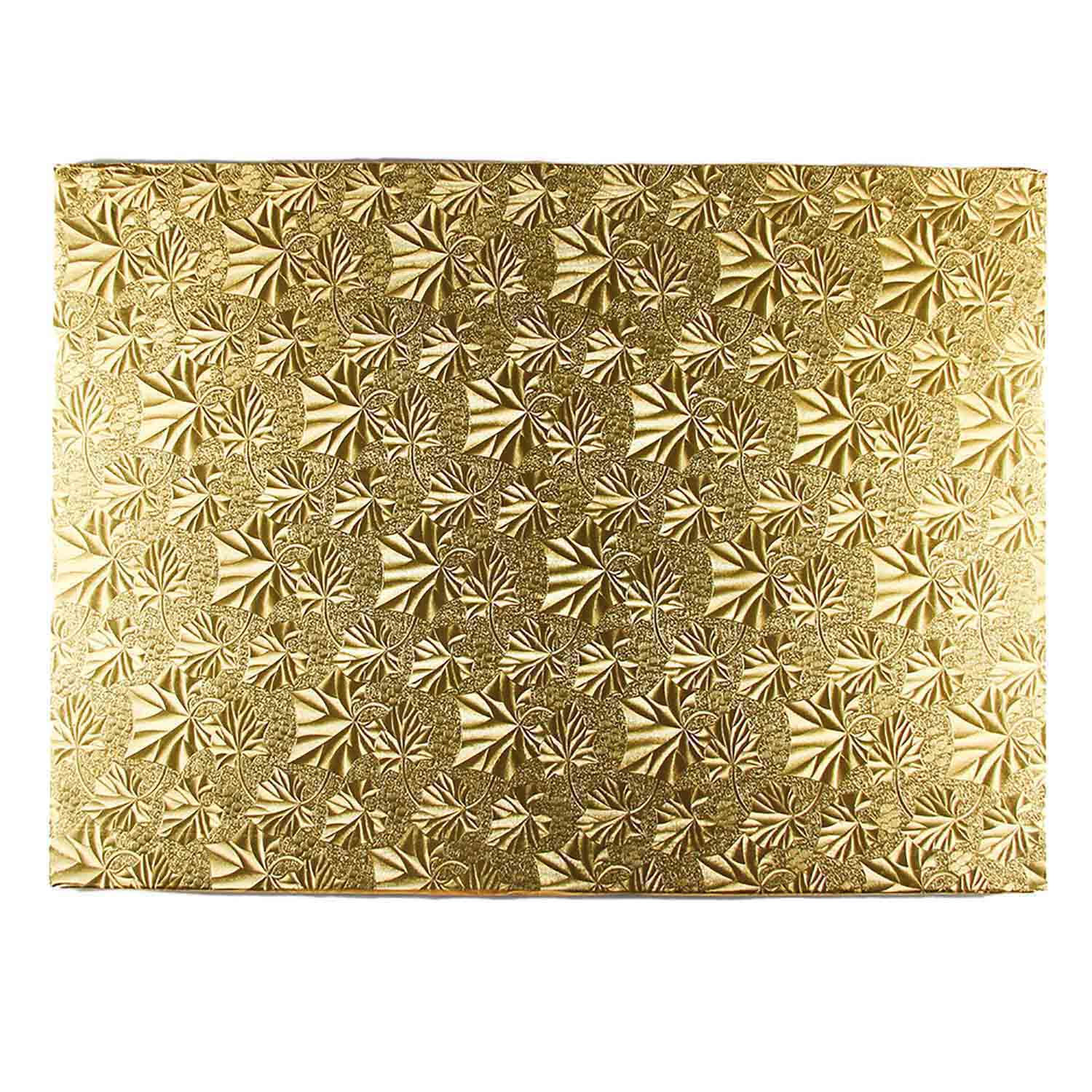 "18"" x 26"" Rectangle Gold Foil Full Sheet Cake Drum"