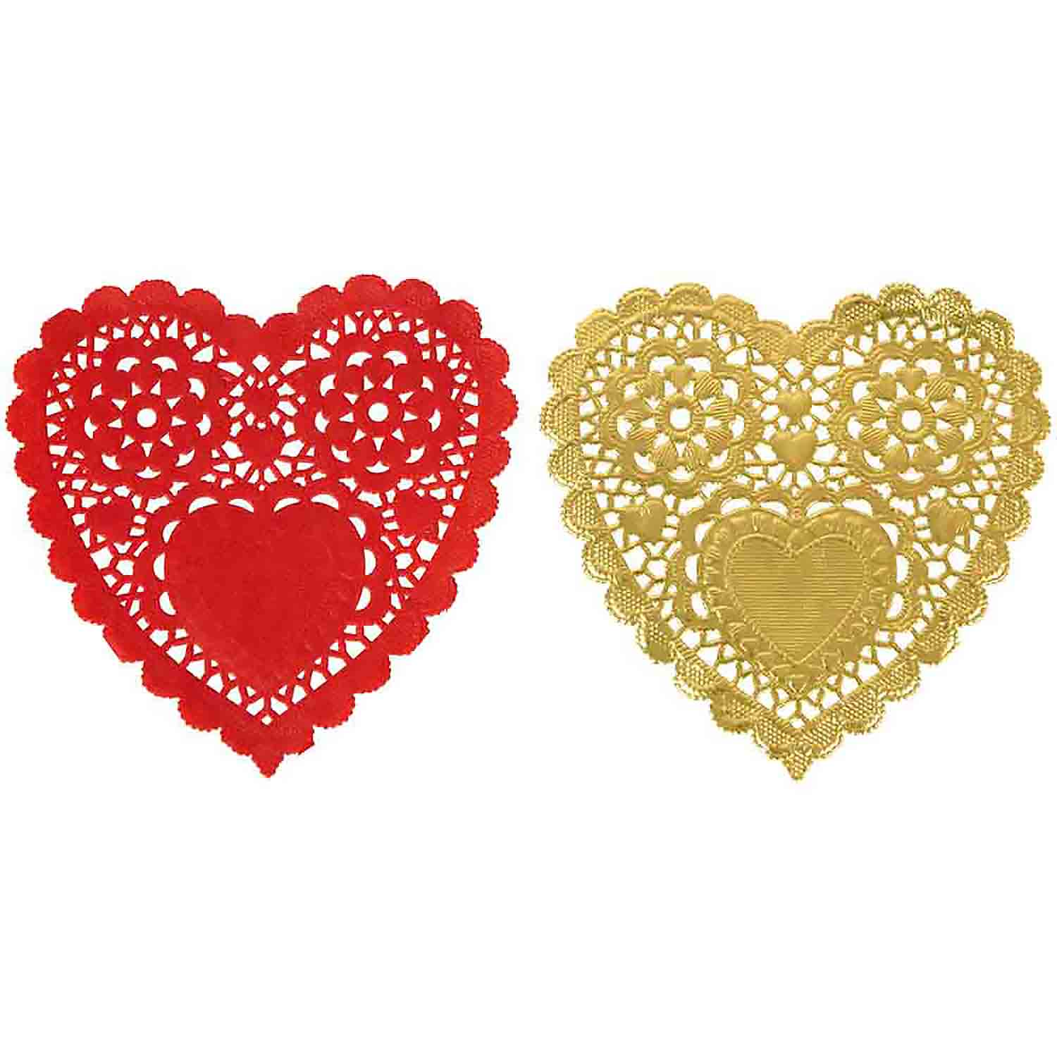 Red and Gold Heart Doilies
