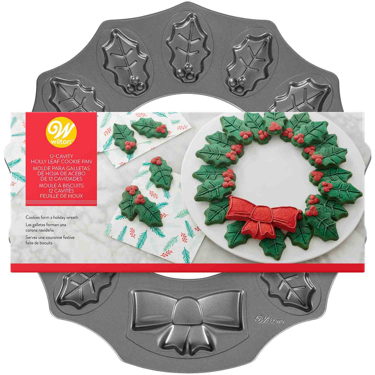 Holly Leaf Wreath Cookie Pan