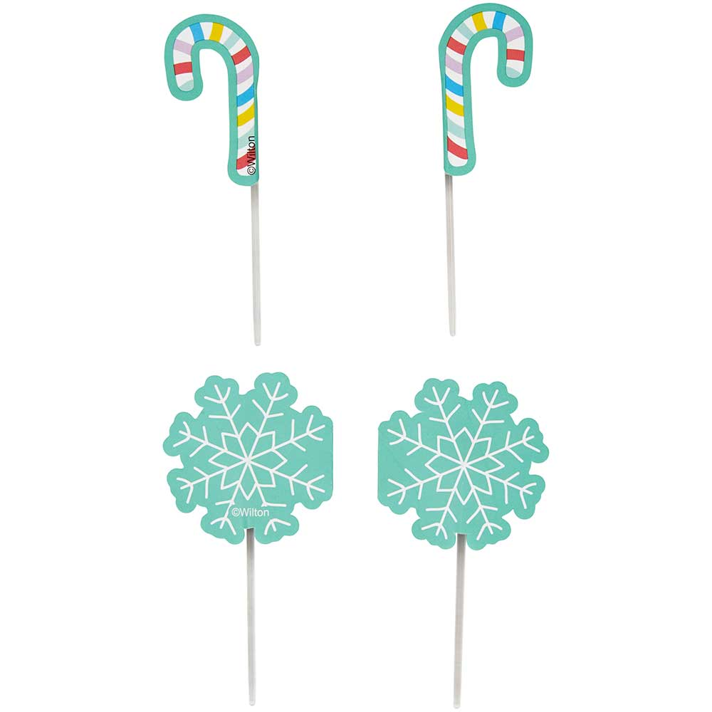 Snowflake and Candy Cane Cupcake Toppers