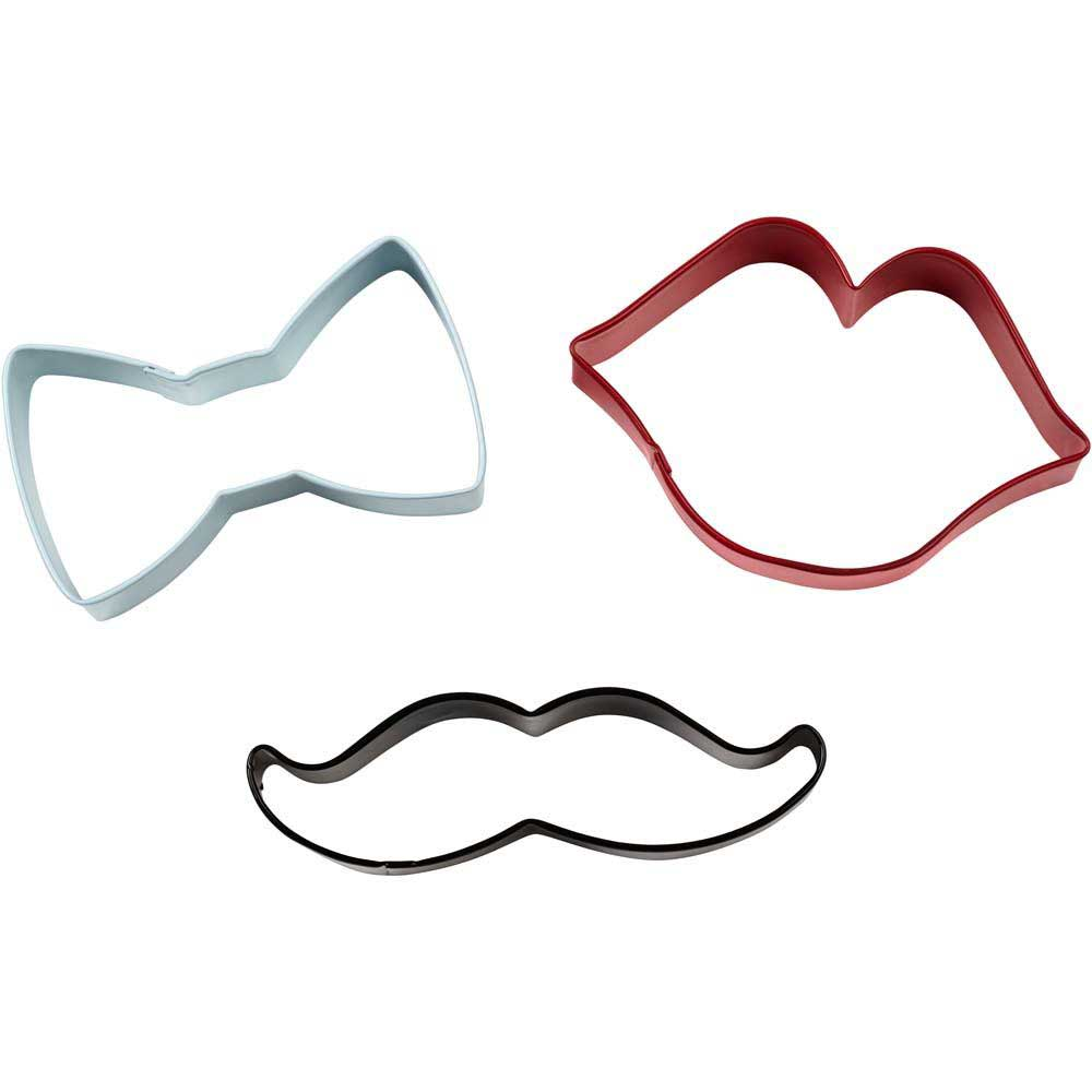 Bow Tie, Mustache, and Lips Cookie Cutter Set