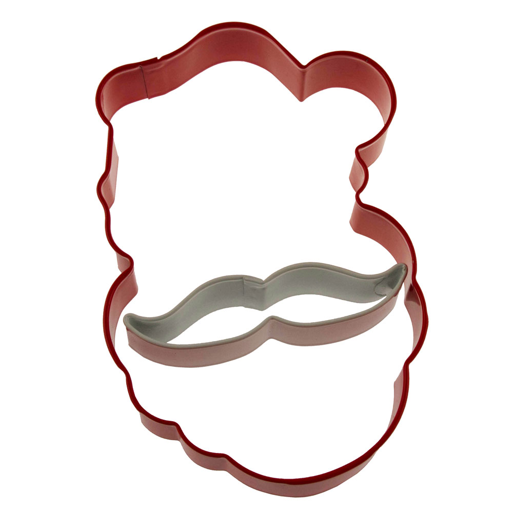 Santa w/ Mustache Cookie Cutter Set