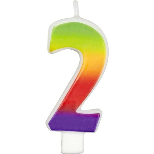 Number 2 Rainbow Candle