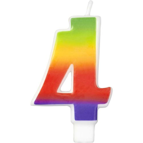 Number 4 Rainbow Candle