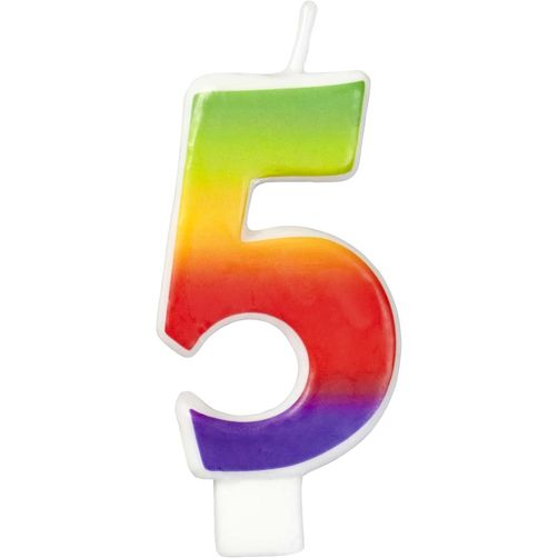 Number 5 Rainbow Candle