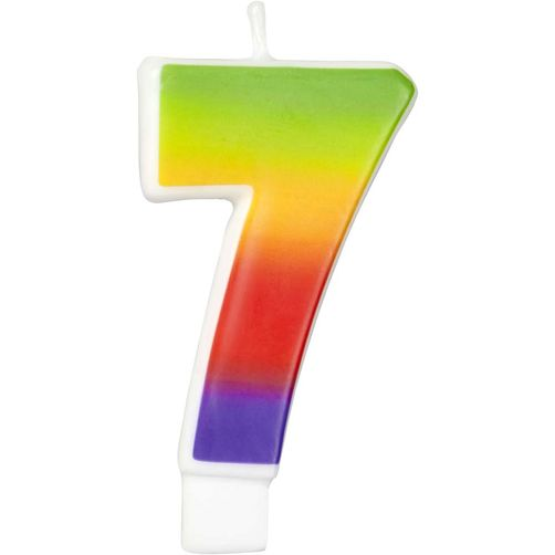Number 7 Rainbow Candle