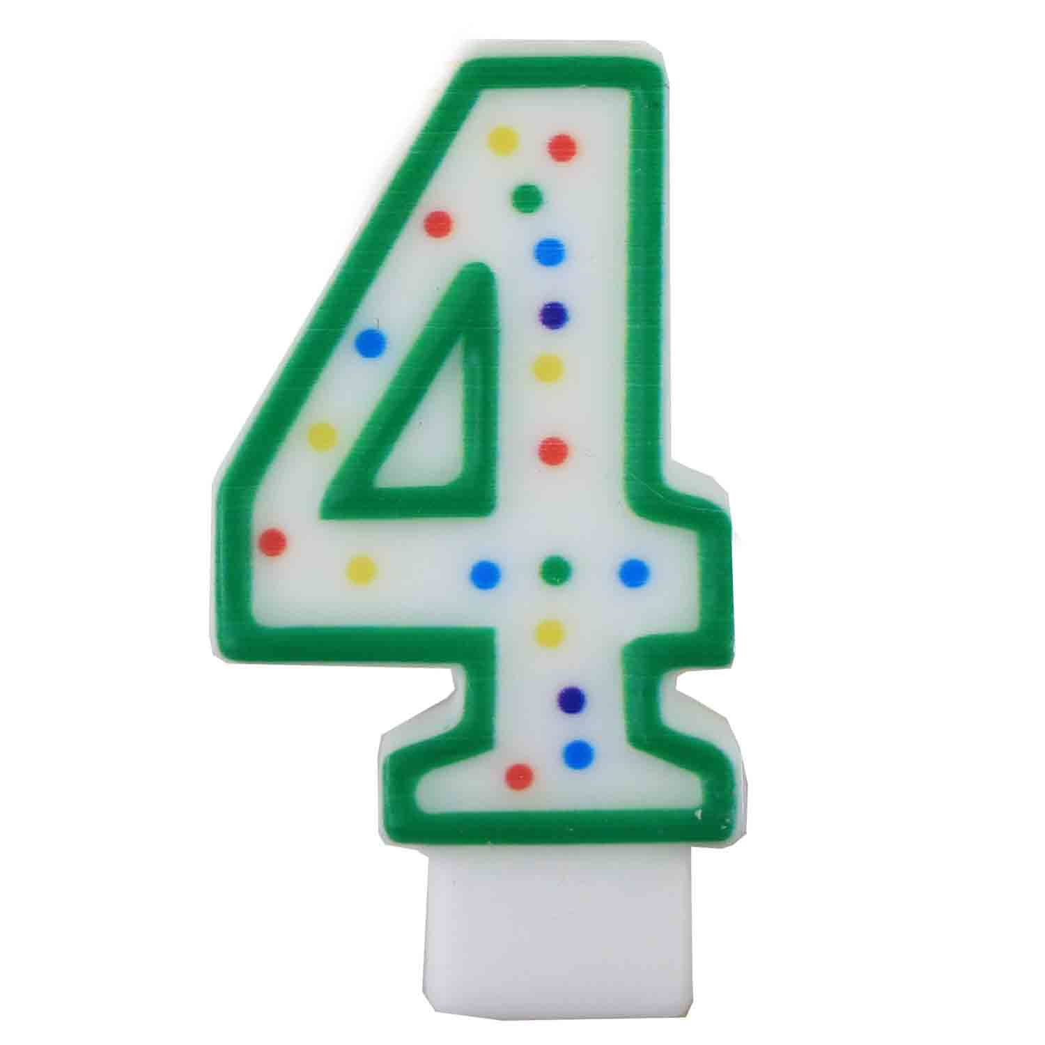 "Green Number ""4"" Candle"