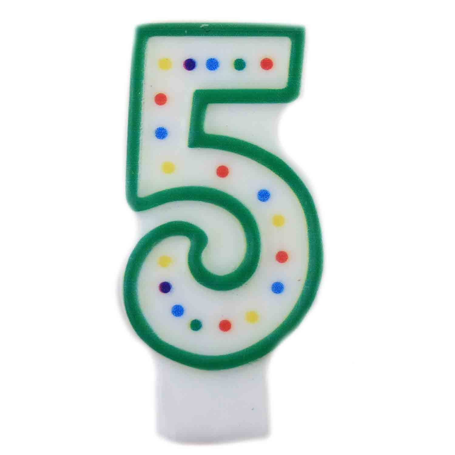 "Green Number ""5"" Candle"