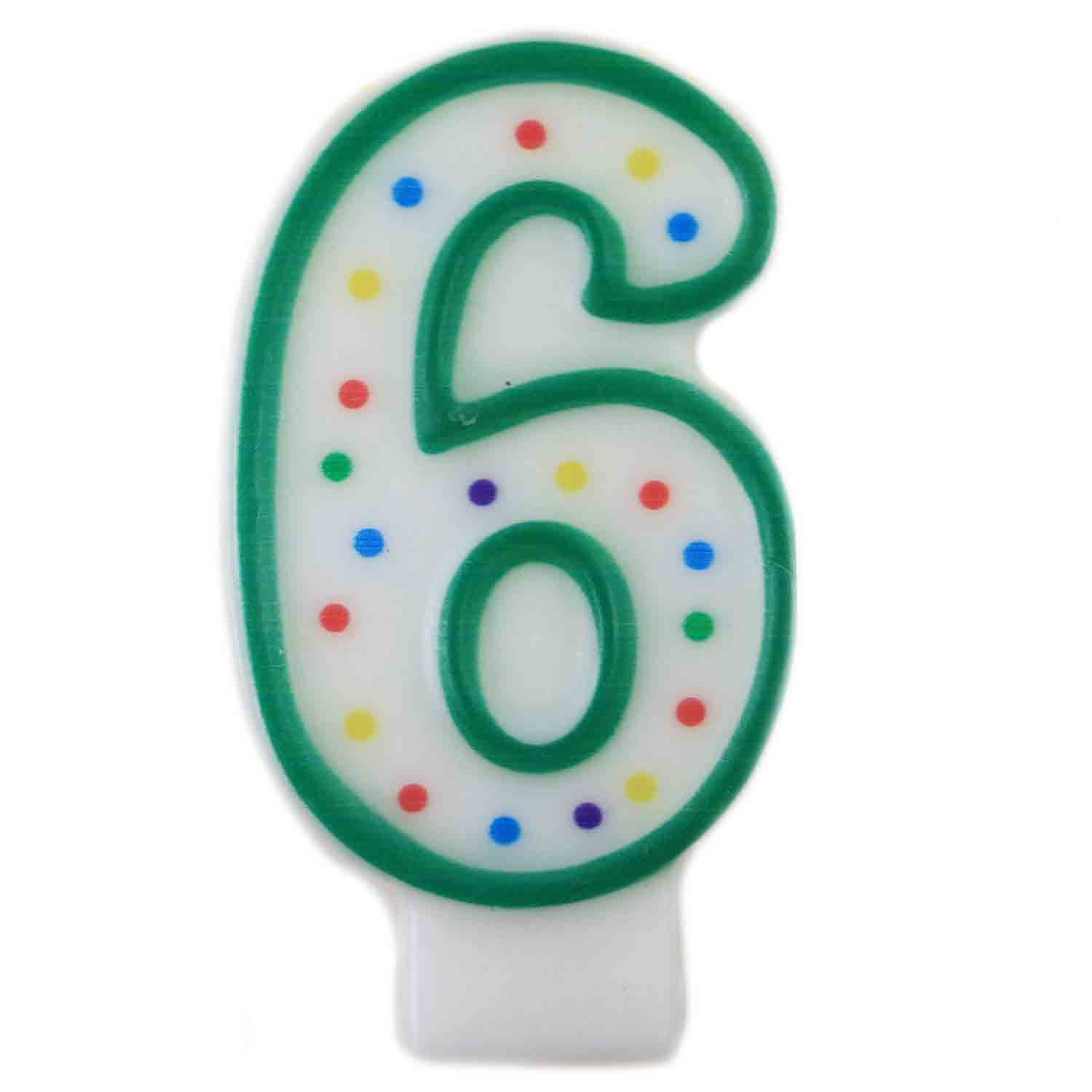 "Green Number ""6"" Candle"