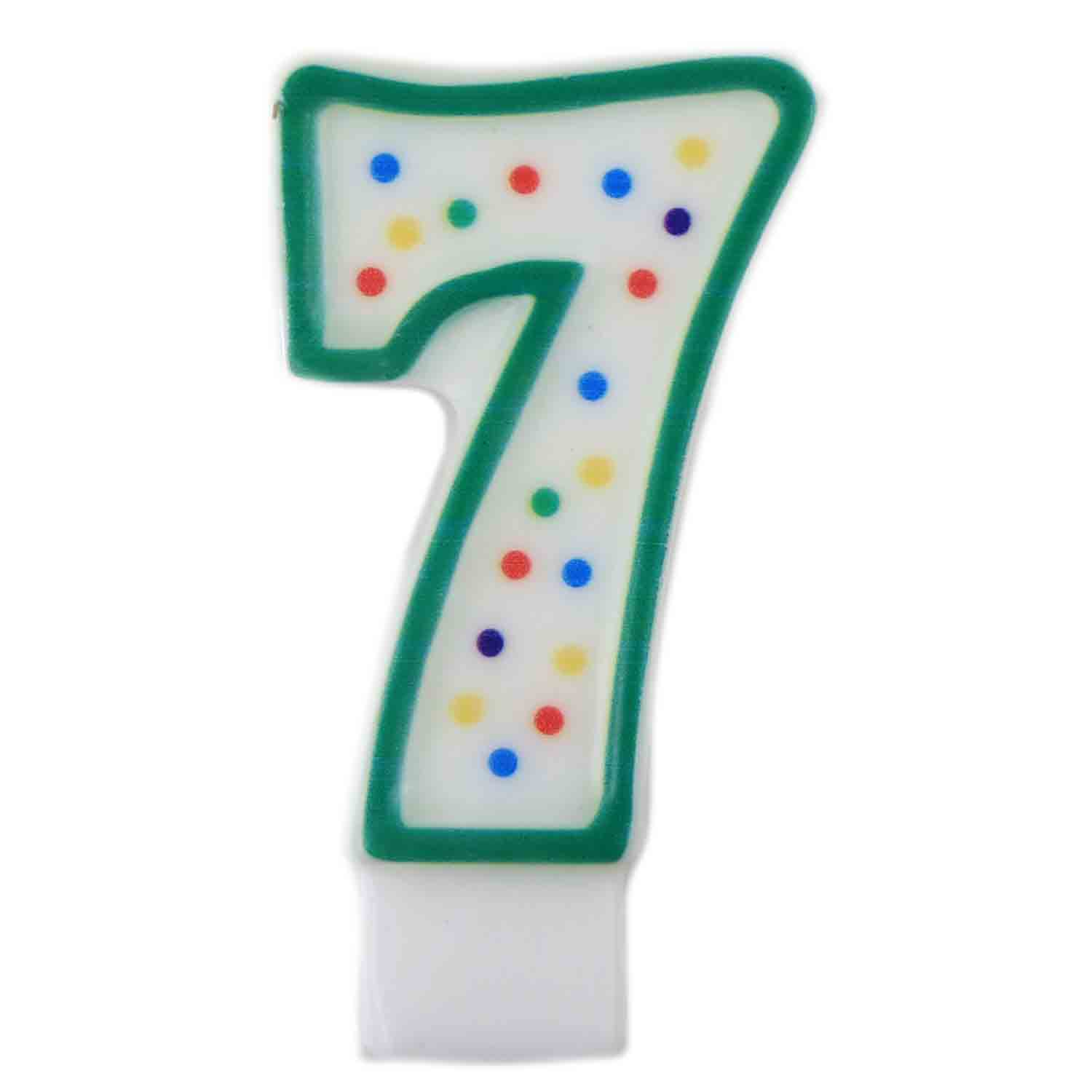 "Green Number ""7"" Candle"