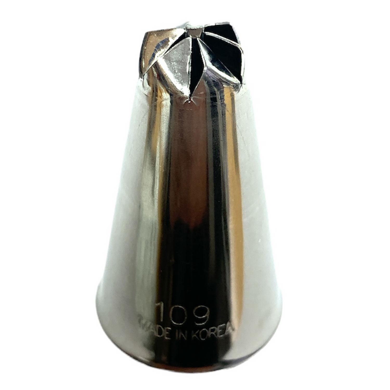 #109 Swirl Drop Flower (Large 6 Petals) Stainless Steel Tip