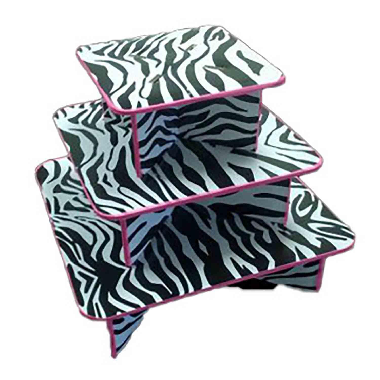 3 Tier Zebra Print Cupcake Stand