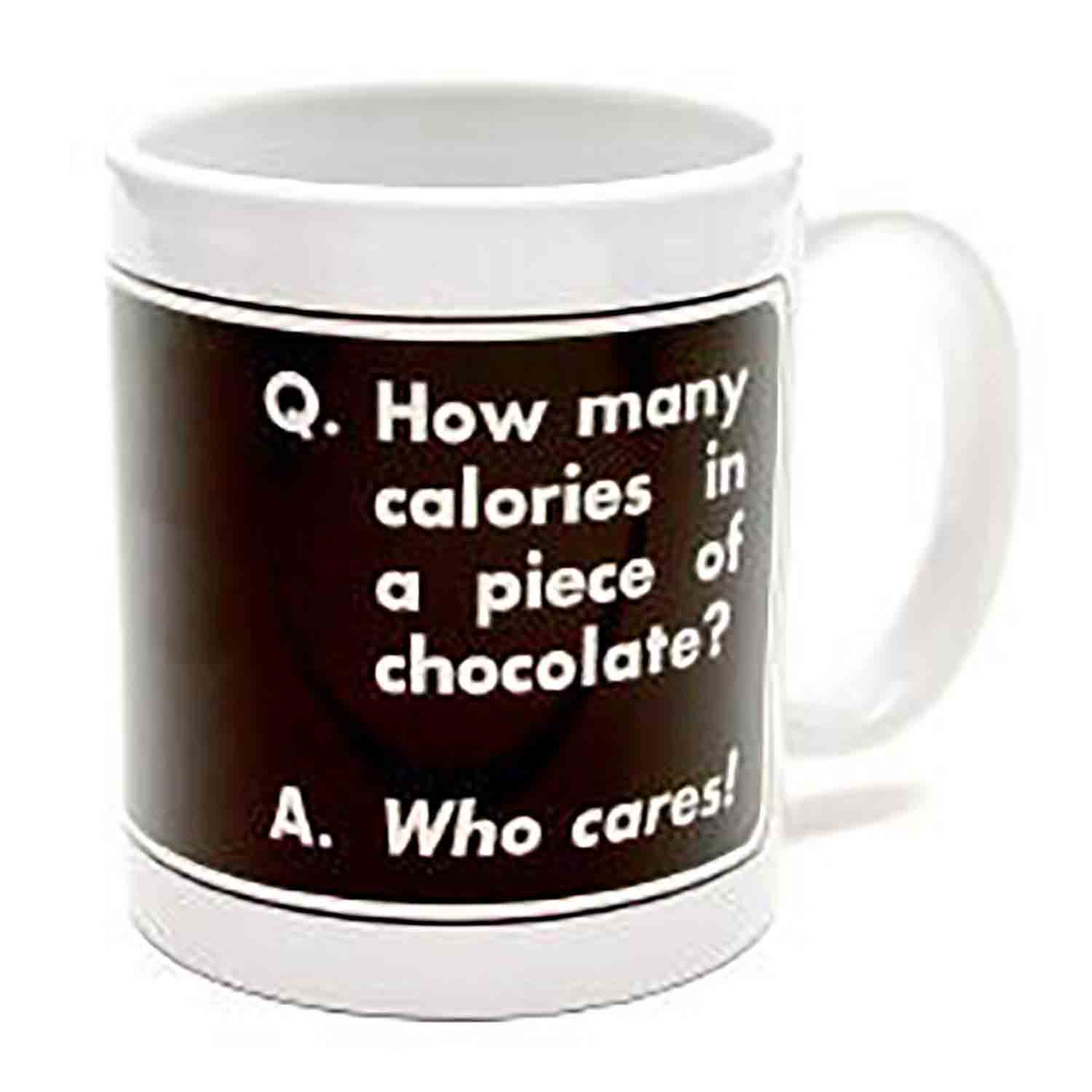 """Q. How many calories in a piece of chocolate?"" Mug"
