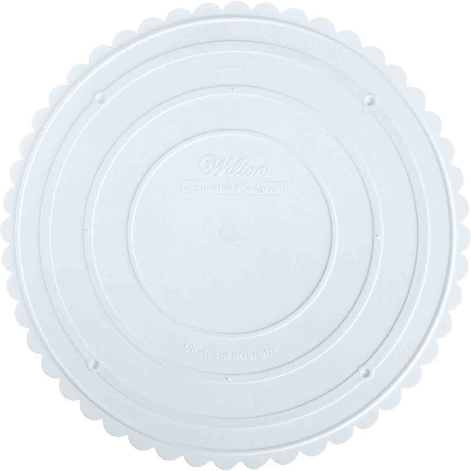 "12"" Wilton Scalloped Round White Separator Plate"