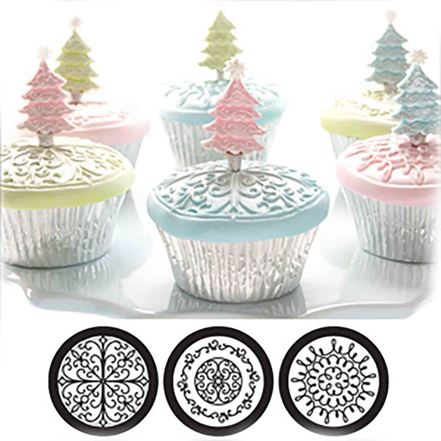 Scroll Cupcake and Cookie Texture Tops
