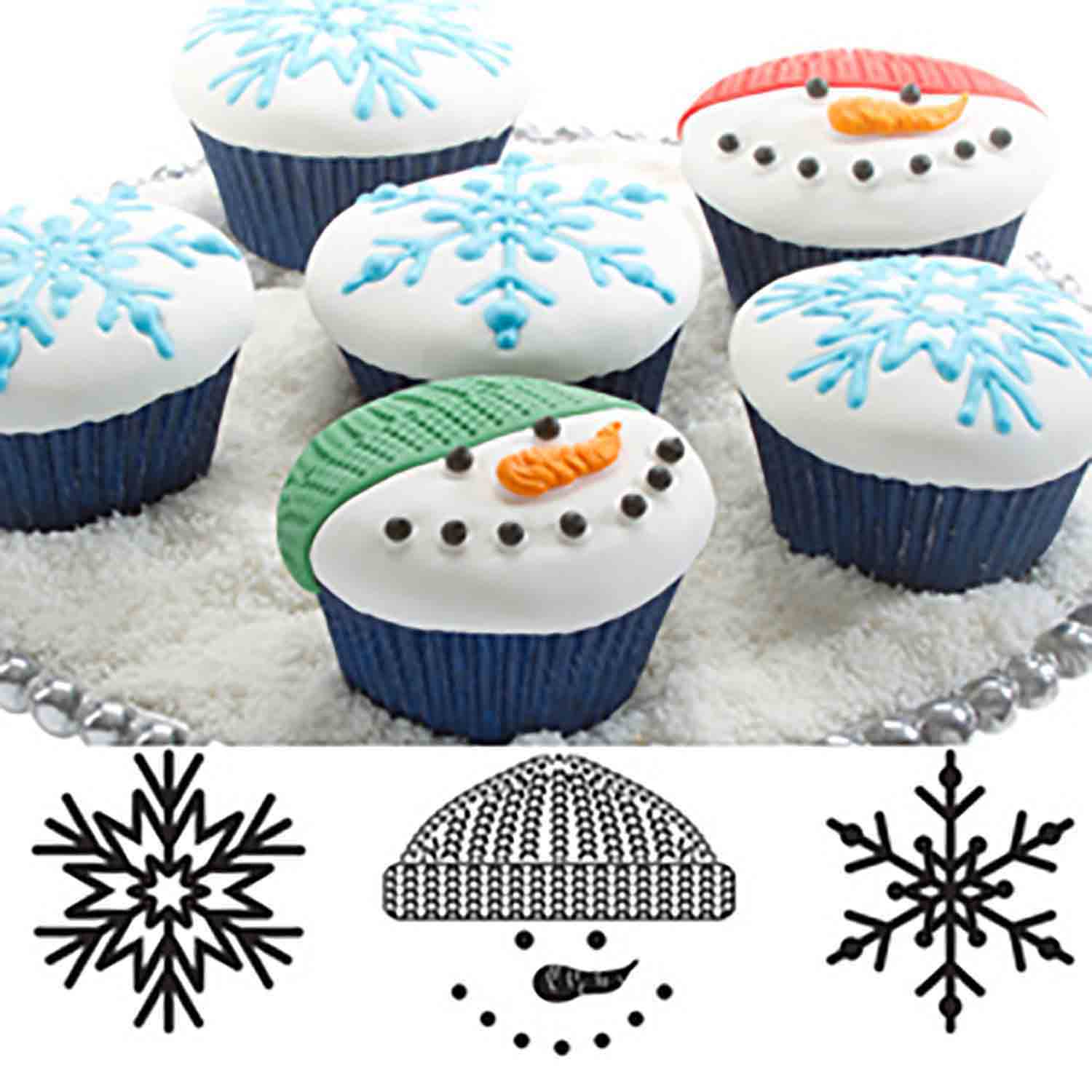 Winter Cupcake and Cookie Texture Tops