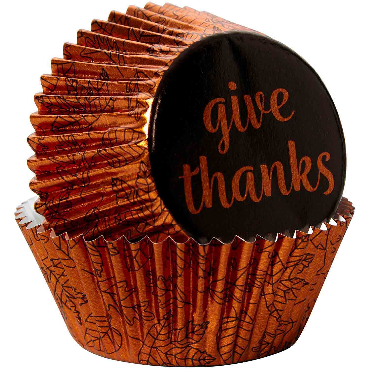 Give Thanks Foil Standard Baking Cups
