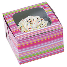 Snappy Stripes 1 ct. Cupcake Box with Window