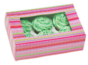 Snappy Stripes 6 ct. Cupcake Box with Window