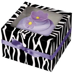 Zebra 1 Ct. Cupcake Box with Window