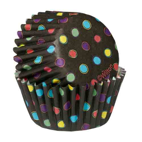 Black w/ Neon Dots Mini Baking Cups