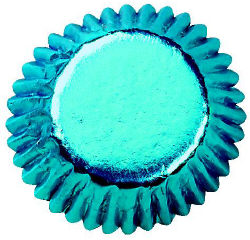 Aqua Blue Foil Bonbon Baking Cups