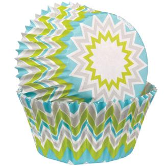 Lime Chevron Mini Baking Cups