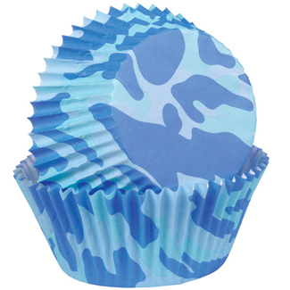 Camo Blue Mini Baking Cups