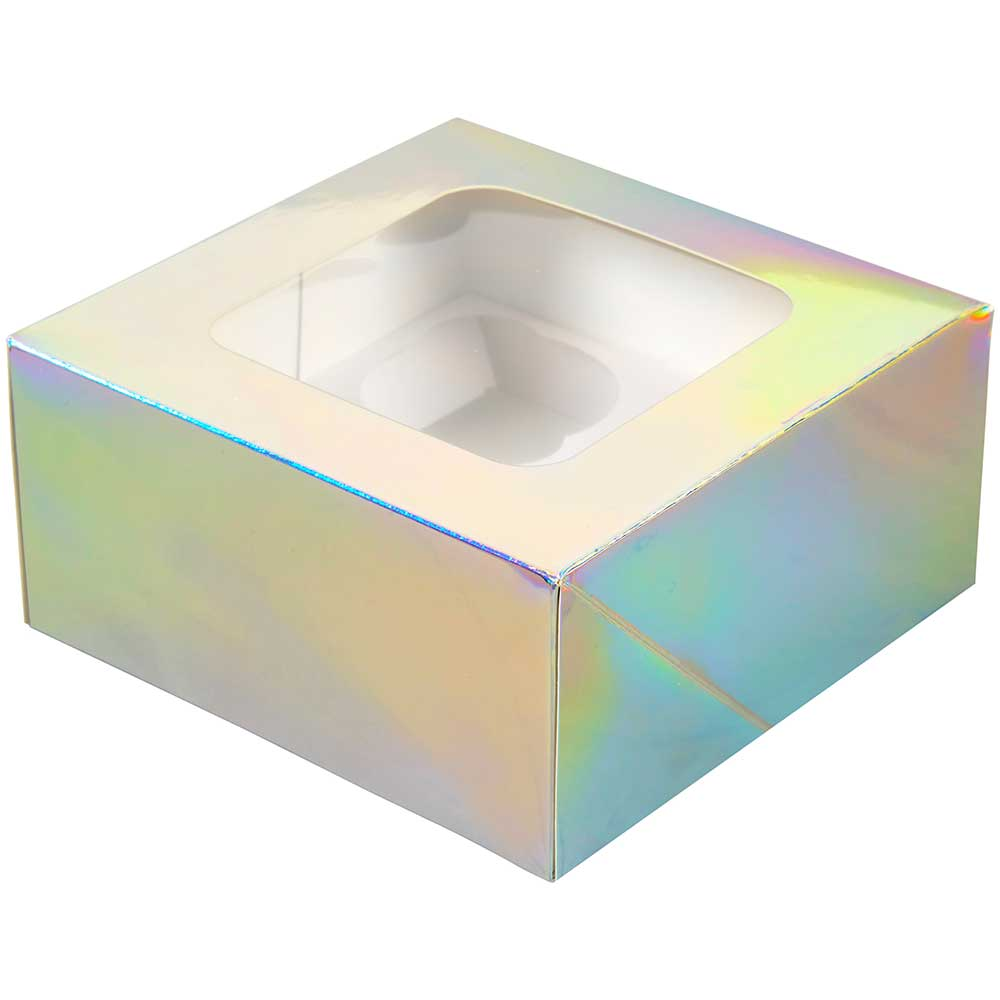 Iridescent 4 Ct. Cupcake Box with Window