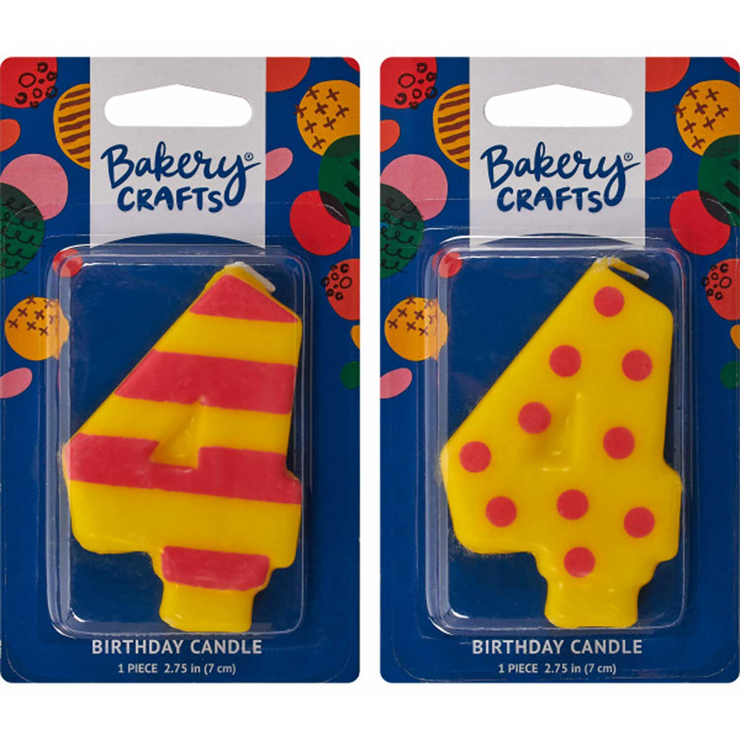 Number Candle 4 Stripes/Dots