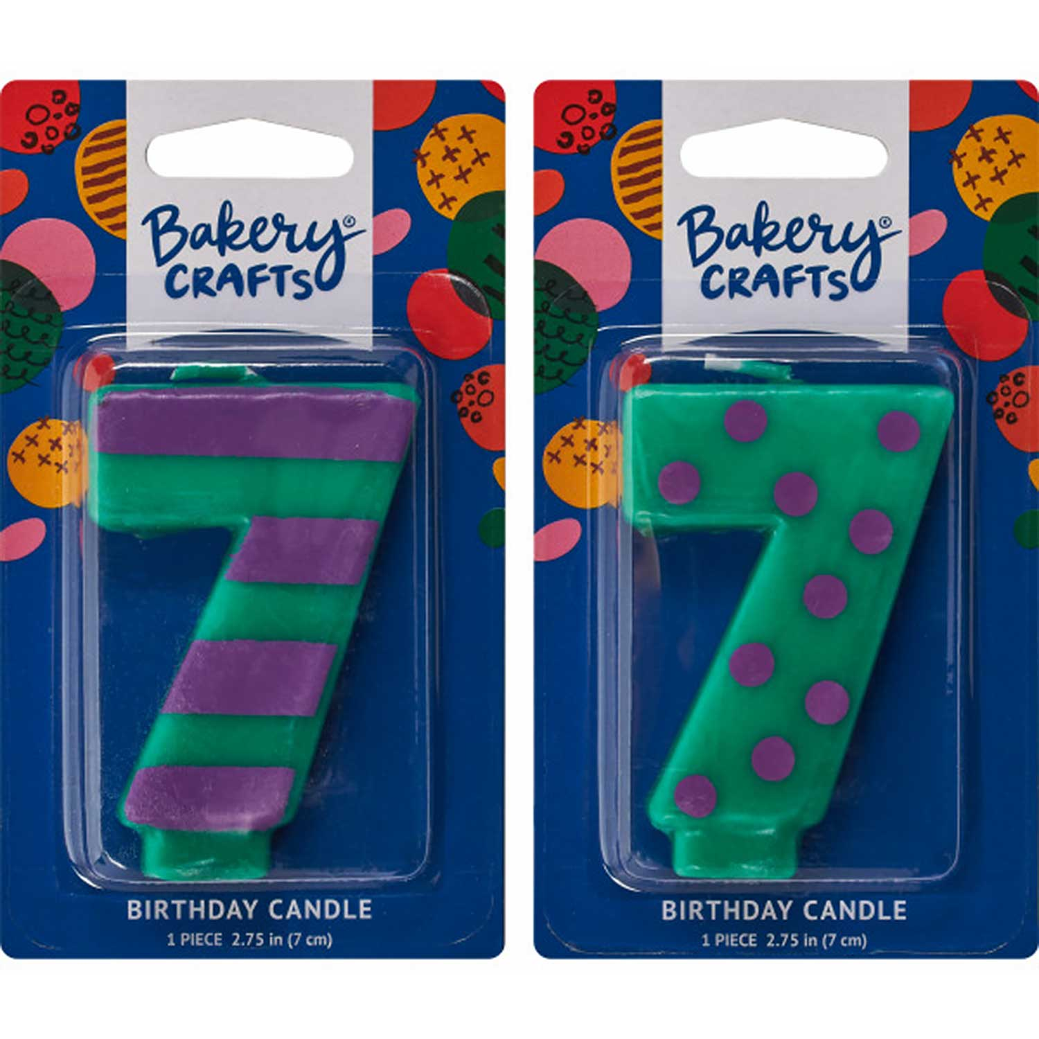 Number Candle 7 Stripes/Dots