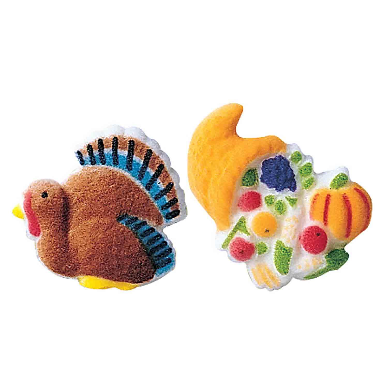 Dec-Ons® Molded Sugar - Turkey & Cornucopia