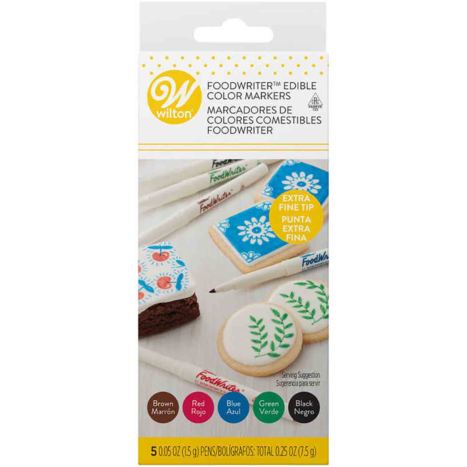 5 Assorted Extra Fine Tip Foodwriter Markers