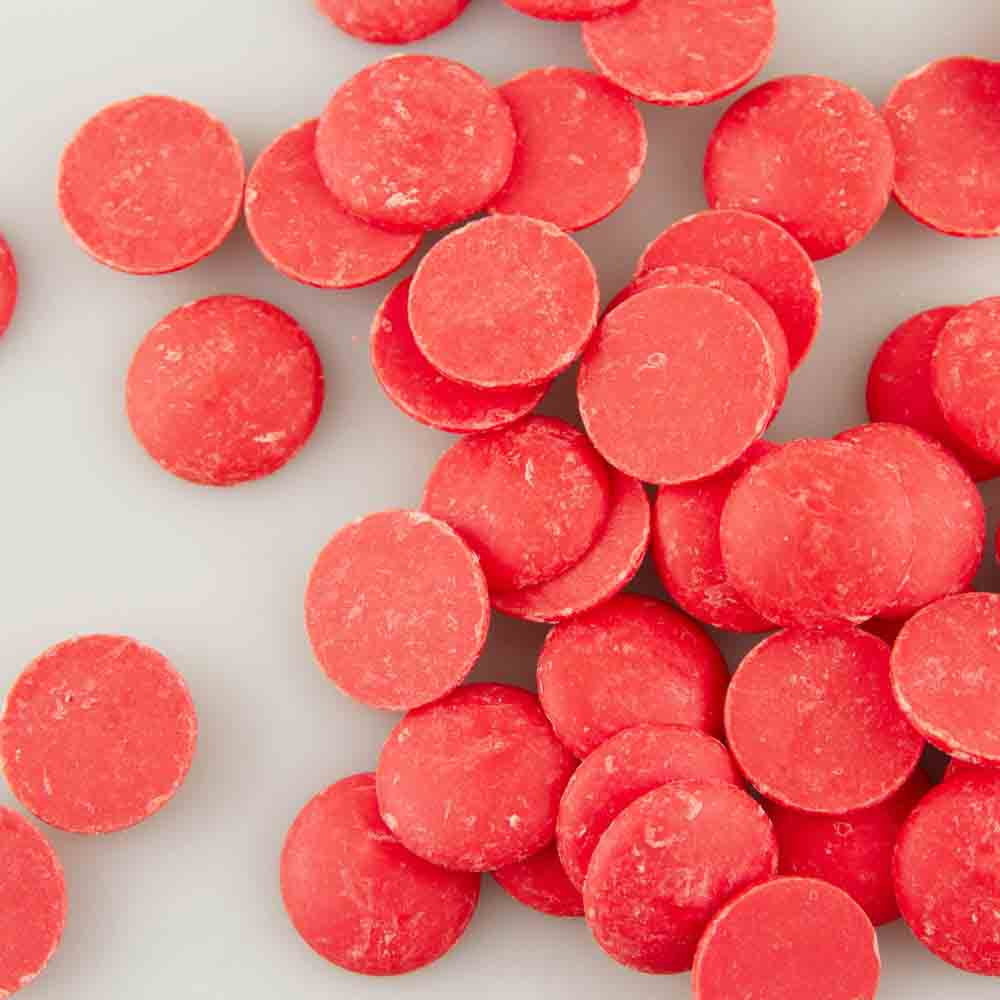 Merckens Red Vanilla Flavored Candy Coating<font color=