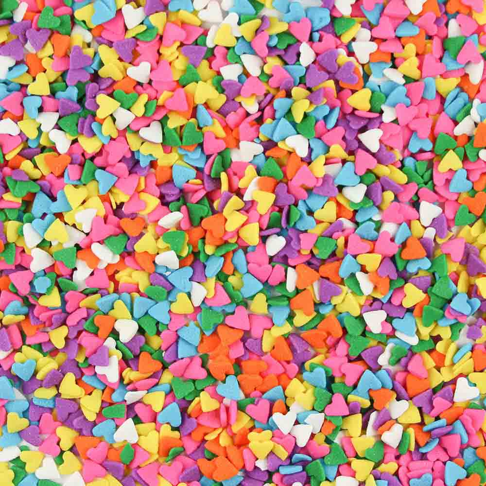 Multi Color Hearts Edible Confetti Sprinkles