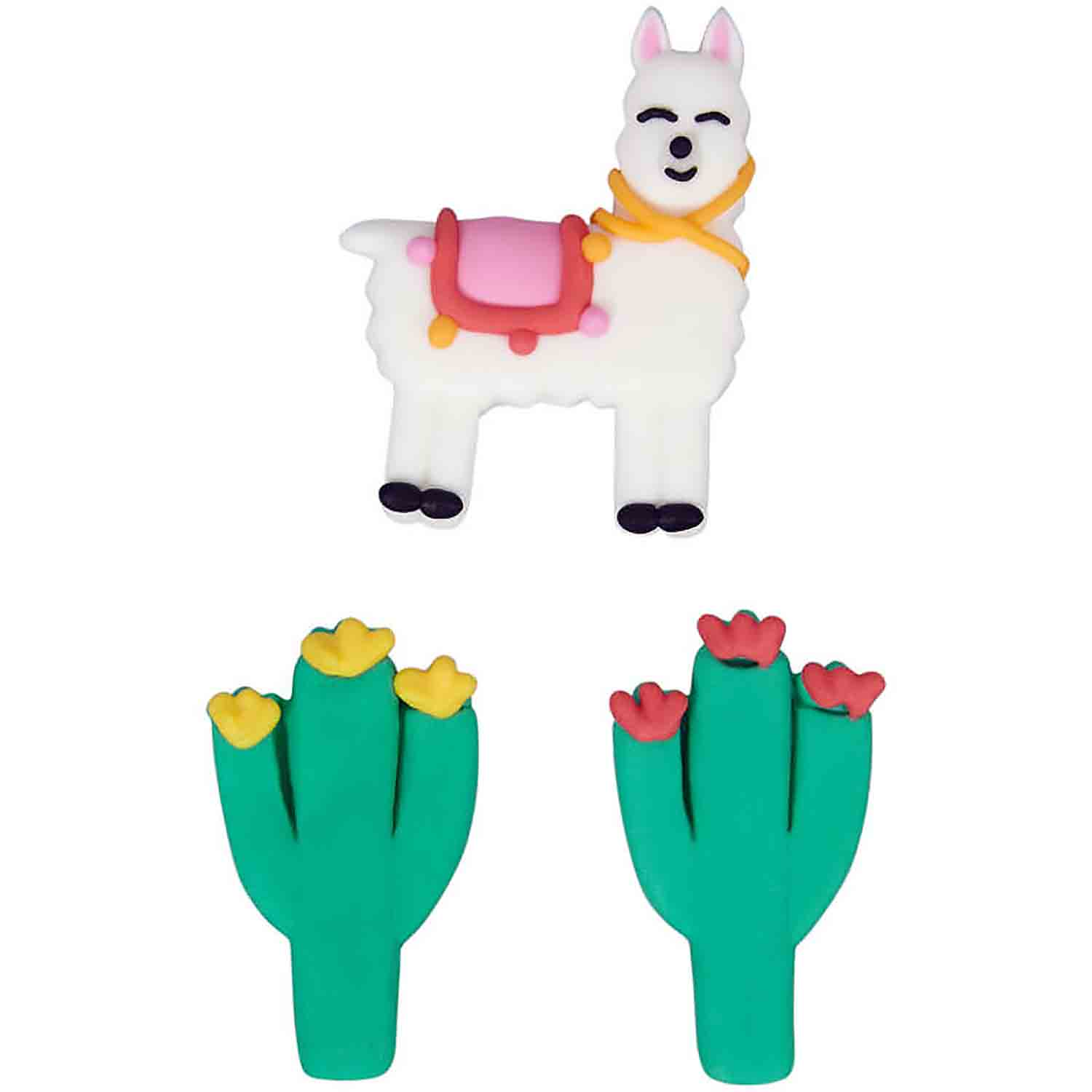 Cactus Llama Royal Icing Decorations