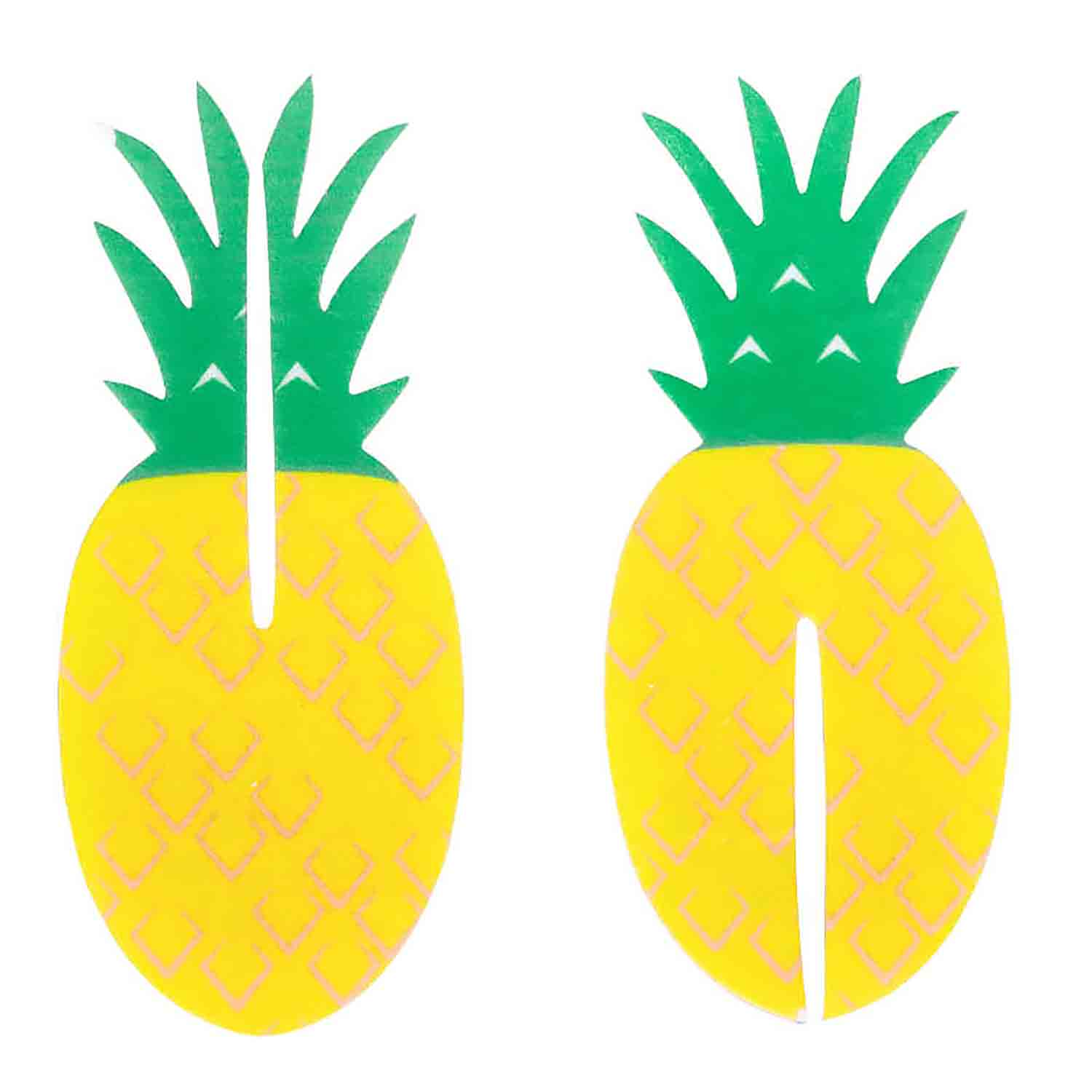 Tropical Party Pineapple 3-D Wafer Decorations
