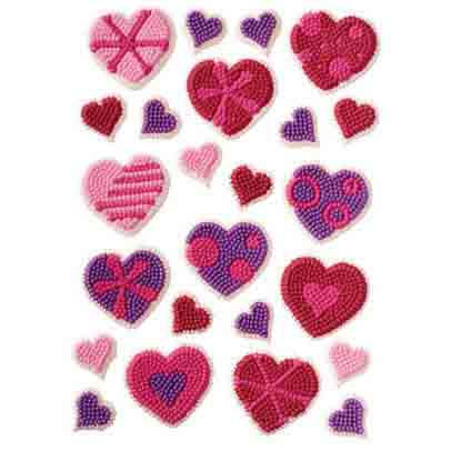 Patterned Hearts Royal Icing Decorations