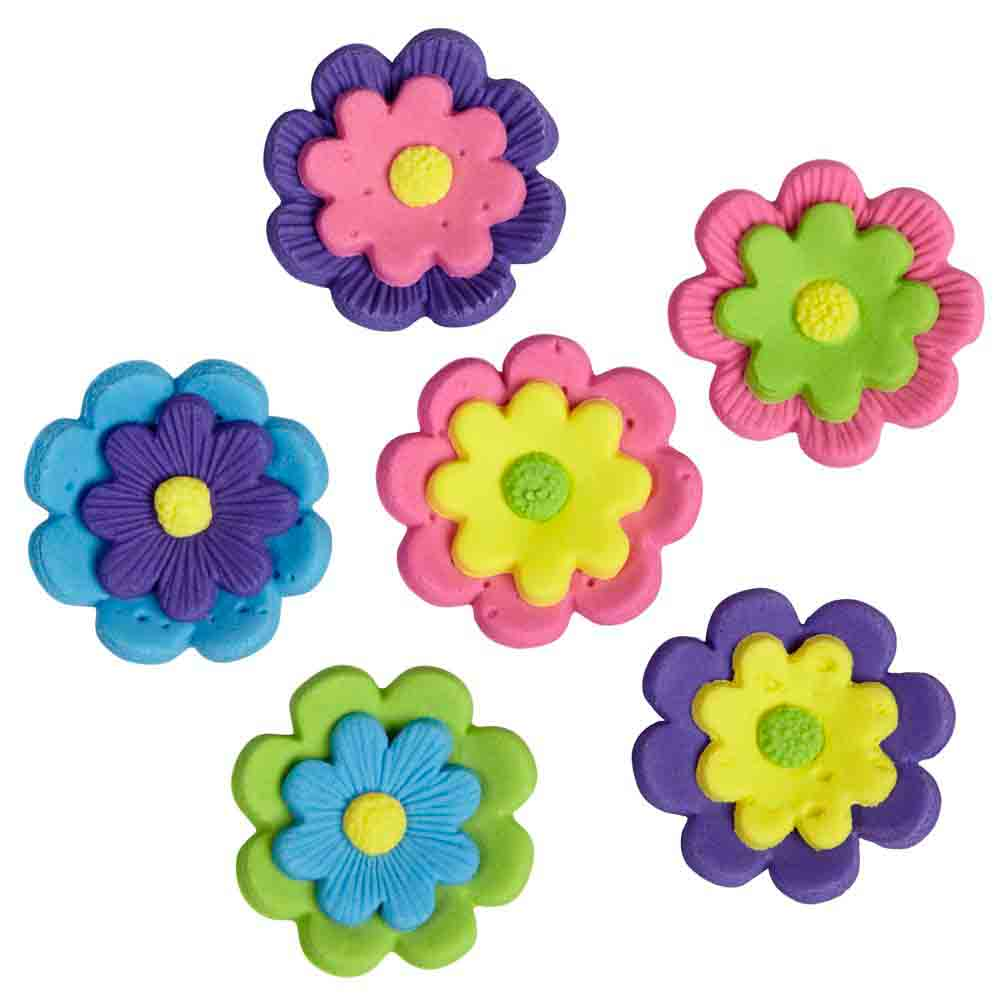 Multi Flower Icing Decorations