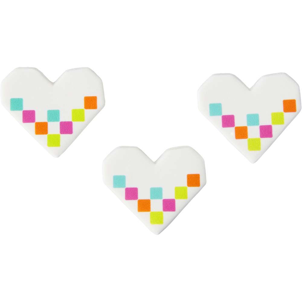 Pixel Hearts Icing Decorations