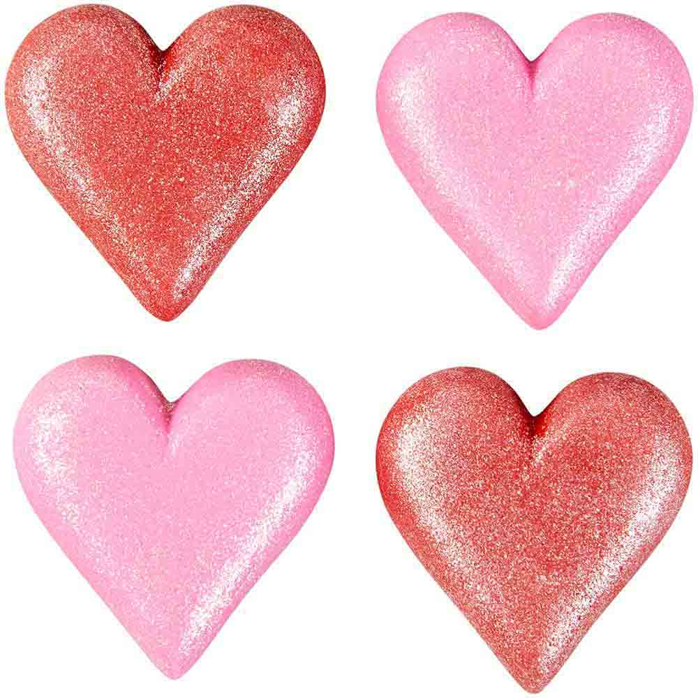 Sparkling Hearts Royal Icing Decorations